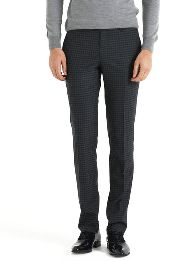 SAYKI Men's Bottega Slim Fit Plaid Grey Pants