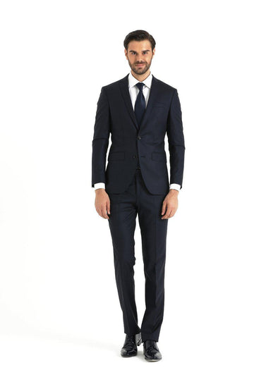 SAYKI Men's Slim Fit Single Breasted Fancy Broadway Navy Suit