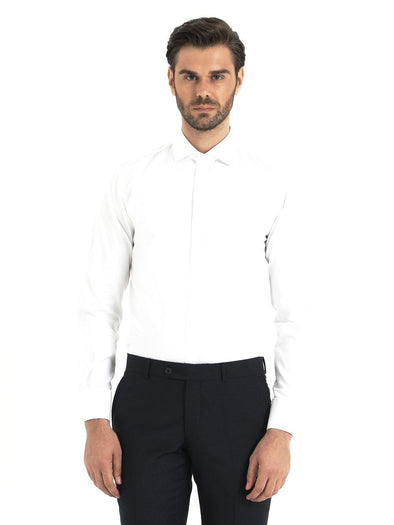 SAYKI Men's Slim Fit White Cotton Dress Shirt-SAYKI MEN'S FASHION