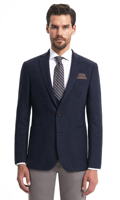 Sayki Mens Dynamic Fit Single Breasted Navy Blazer Default