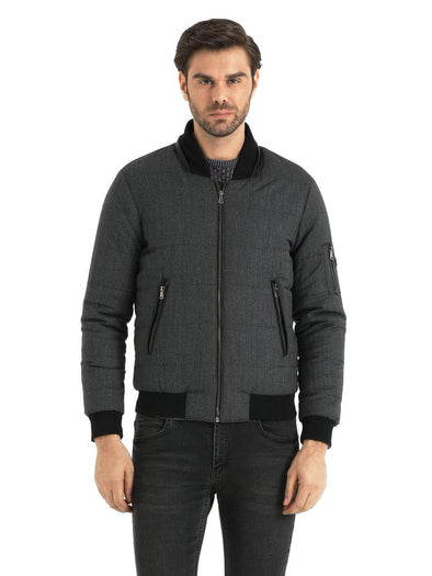 SAYKI Men's Grey Bomber Jacket-SAYKI MEN'S FASHION