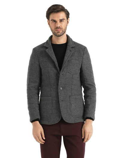 SAYKI Men's Knitwear Charcoal Jacket-SAYKI MEN'S FASHION