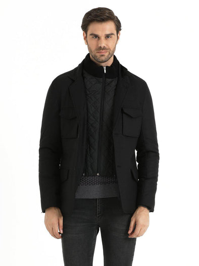 SAYKI Men's Basic Black Coat