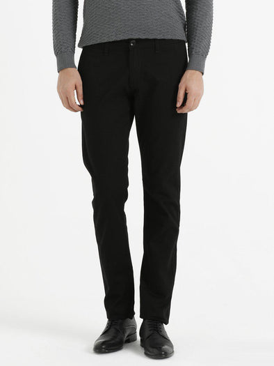 SAYKI Men's Dynamic Fit Black Pants