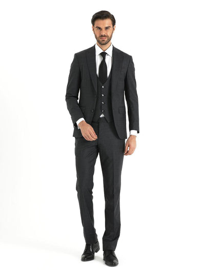 SAYKI Men's Fancy Broadway Dark Grey Single Breasted Slim Fit Suit with Vest-SAYKI MEN'S FASHION