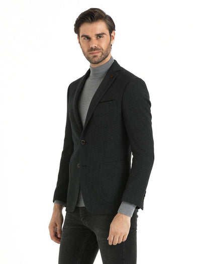 SAYKI Men's Slim Fit Grey Peaked Lapel Blazer