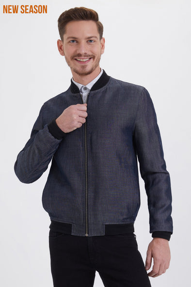 SAYKI Men's Indigo Bomber Jacket