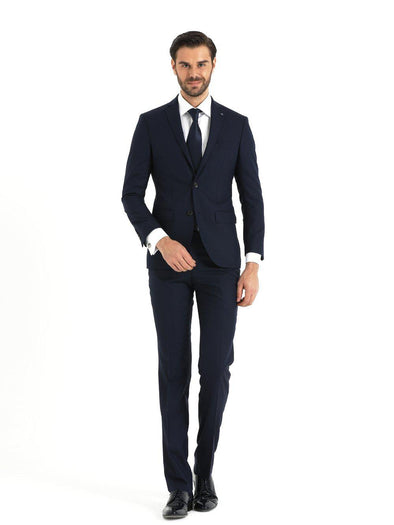 SAYKI Men's Slim Fit Single Breasted Peaked Lapel Navy Suit