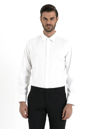 SAYKI Men's Regular Fit Spread Collar White Shirt