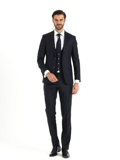 SAYKI Men's Slim Fit Navy Single Breasted Suit with Vest
