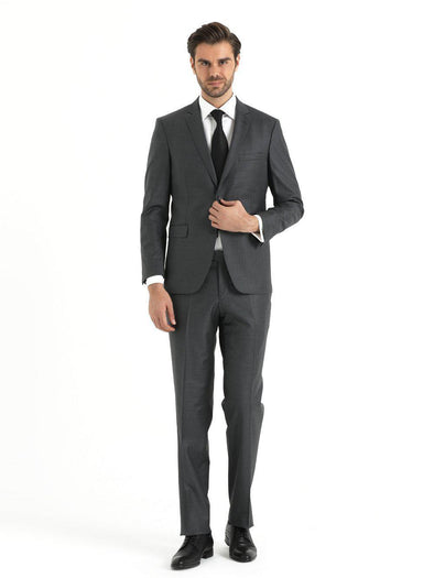 SAYKI Men's Dynamic Comfort Fit Single Breasted Grey Suit