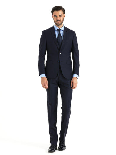 SAYKI Men's Slim Fit Navy Single Breasted Peaked Lapel Suit