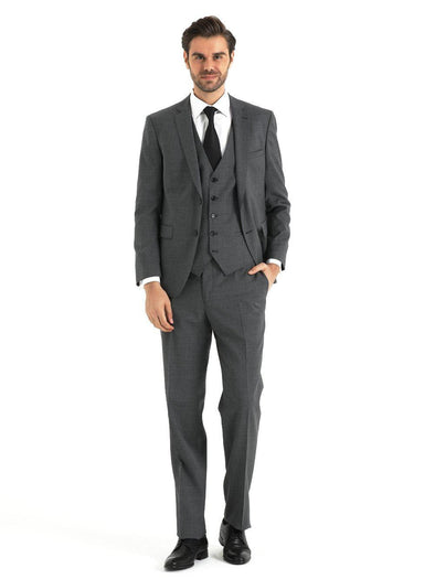SAYKI Men's Slim Fit Short Grey Double Breasted Suit with Vest