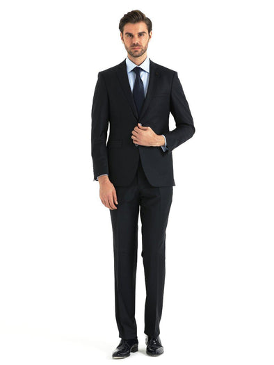 SAYKI Men's Dynamic Comfort Fit Navy Double Breasted Suit