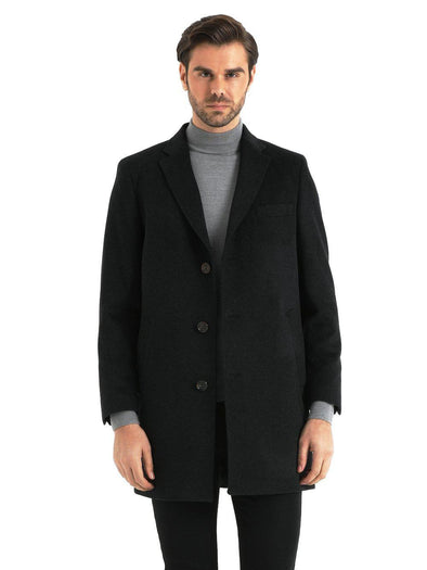 SAYKI Men's Cashmere Charcoal Overcoat
