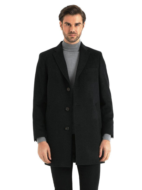 SAYKI Men's Cashmere Charcoal Overcoat-SAYKI MEN'S FASHION