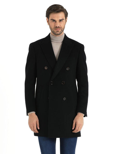 SAYKI Men's Cashmere Navy Coat