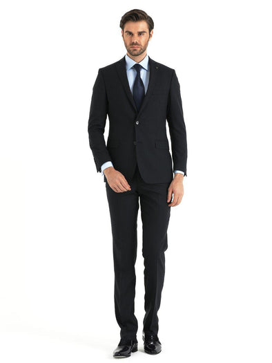 SAYKI Men's Dynamic Fit Navy Double Breasted Suit