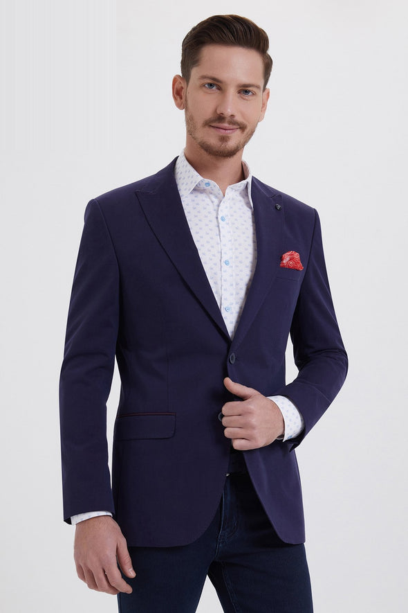 SAYKI Men's Slim Fit Single Breasted Navy Blazer
