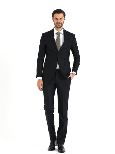 SAYKI Men's Slim Fit Single Breasted Long Navy Suit