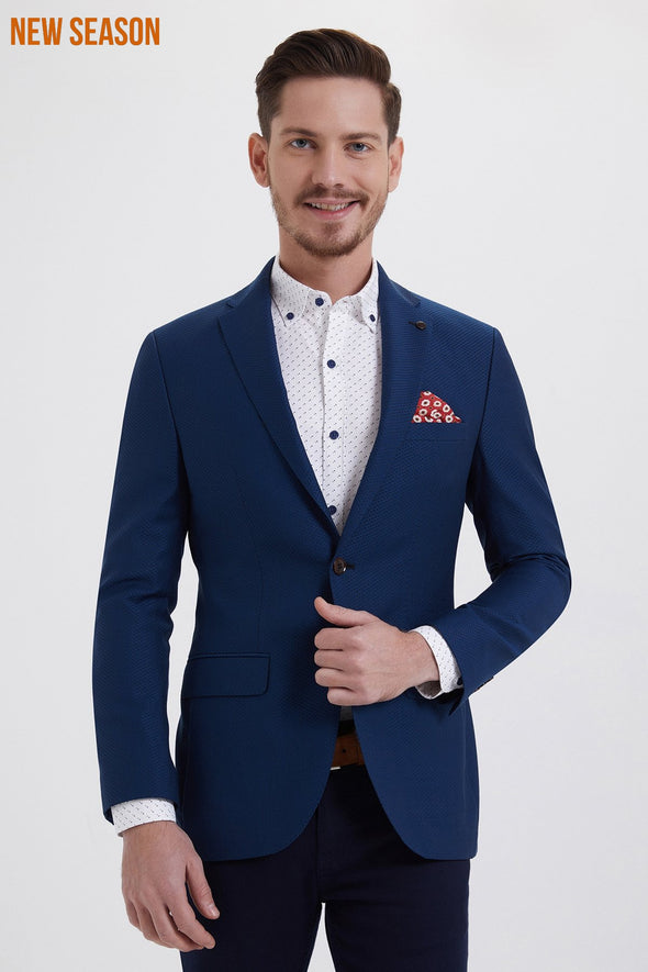 TEXTURED BLUE SLIM FIT BLAZER