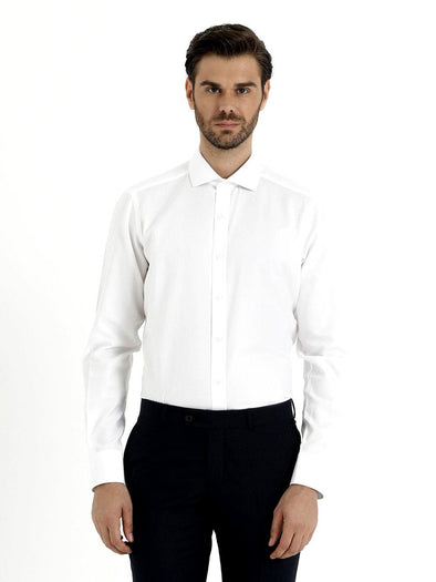 SAYKI Men's White Cotton Shirt