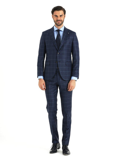 SAYKI Men's Pera Slim Fit Window Pane Dark Blue Suit