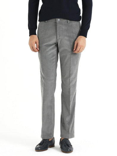 SAYKI Men's Velvet Regular Fit Grey Pants