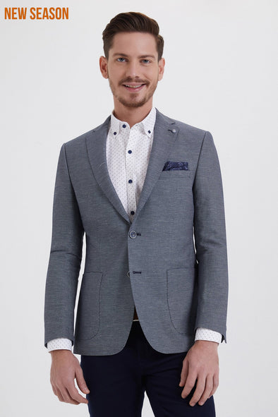 MICRO-PATTERN GREY BLAZER