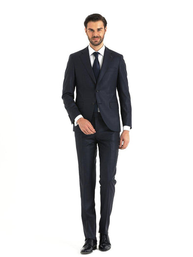 SAYKI Men's Pera Slim Fit Window Pane Navy Suit-SAYKI MEN'S FASHION