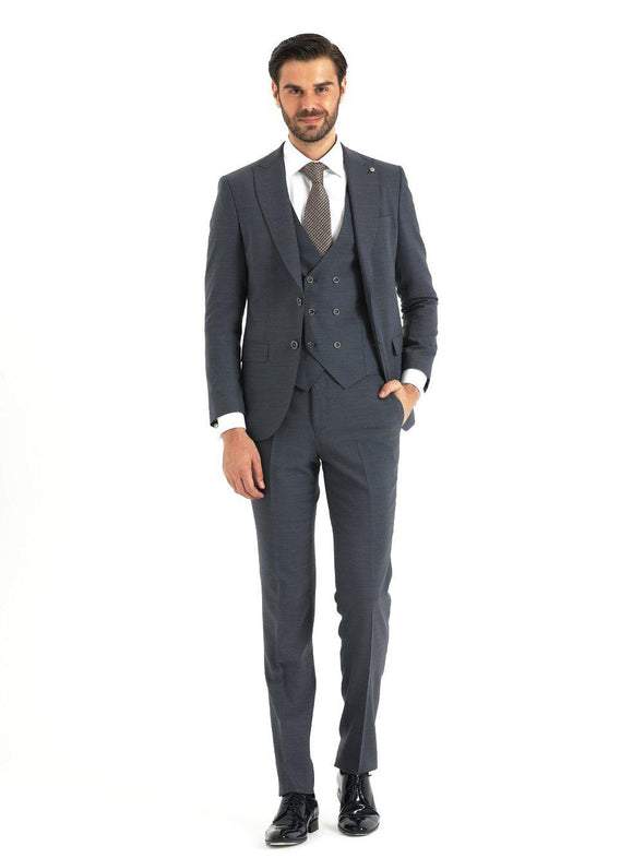 SAYKI Men's Slim Fit Charcoal Suit with Vest