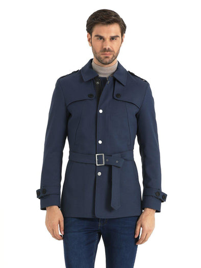 SAYKI Men's Navy Overcoat