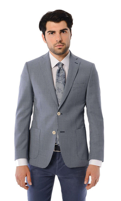 SAYKI Men's Slim Fit Double Breasted Wool Blazer