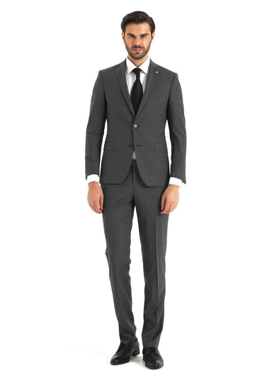 SAYKI Men's Armando Single Breasted Slim Fit Grey Suit