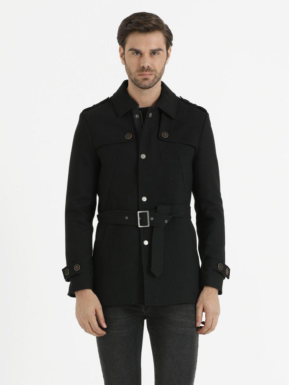 SAYKI Men's Vilnius Black Trench Coat