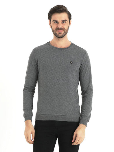 SAYKI Men's Crewneck Grey Sweatshirt