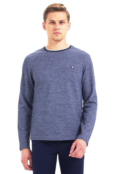 SAYKI Men's Grey Melange Navy Crewneck Sweatshirt-SAYKI MEN'S FASHION