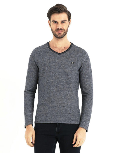 SAYKI Men's V-Neck Grey Sweatshirt-SAYKI MEN'S FASHION