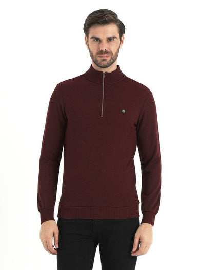 SAYKI Men's Zipper Neck Burgundy Sweatshirt-SAYKI MEN'S FASHION