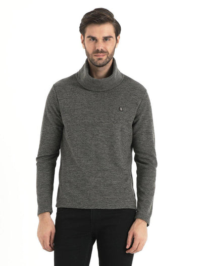 SAYKI Men's Shawl Neck Grizzled Sweatshirt-SAYKI MEN'S FASHION