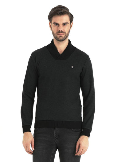 SAYKI Men's Shawl Neck Two Colored Sweatshirt