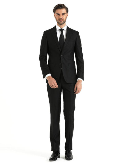 SAYKI Men's Slim Fit Single Breasted Black Suit