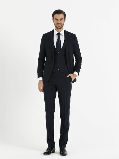 SAYKI Men's Armando Slim Fit Navy Blue Suit with Vest