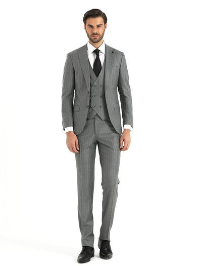 SAYKI Men's Light Grey Suit with Vest-SAYKI MEN'S FASHION