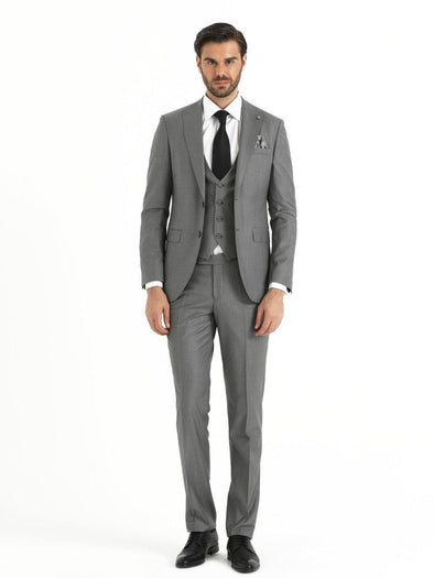 SAYKI Men's Light Grey Suit