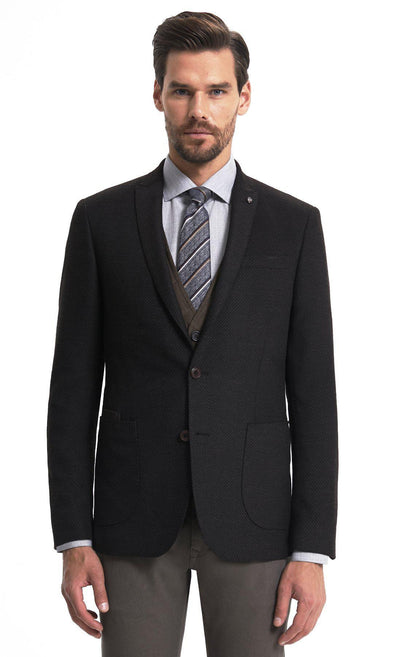 Sayki Mens Dynamic Fit Single Breasted Blazer Brown Patterned / 46 Default
