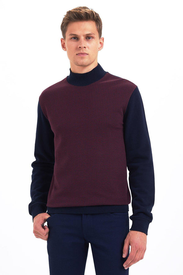 SAYKI Men's Mock Turtleneck Sweatshirt-SAYKI MEN'S FASHION