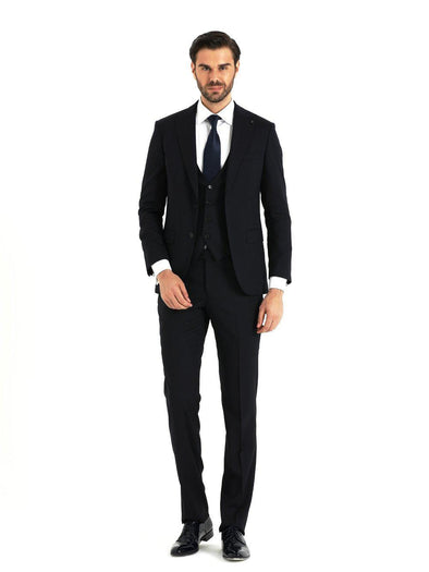 SAYKI Men's Slim Fit Dark Navy Suit with Vest