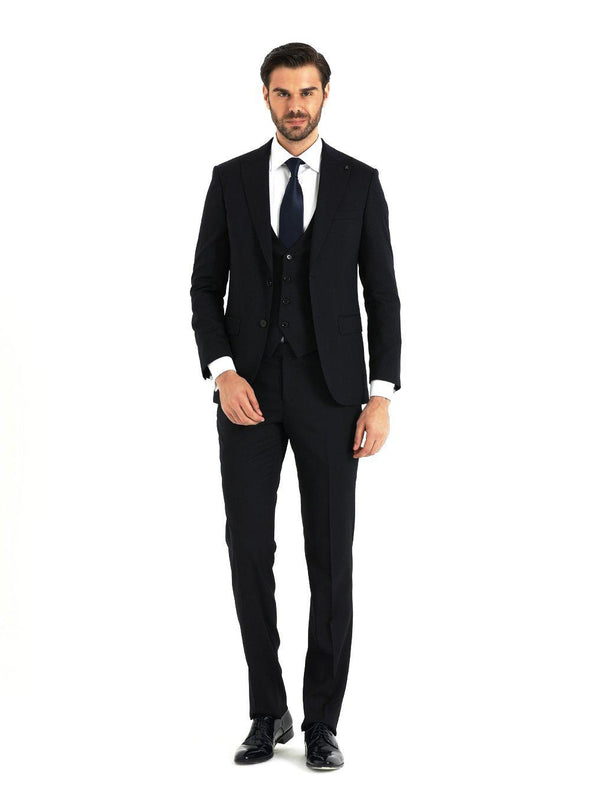 SAYKI Men's Slim Fit Dark Navy Suit with Vest-SAYKI MEN'S FASHION