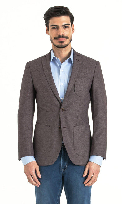 SAYKI Men's Slim Fit Herringbone Burgundy Single Breasted Blazer